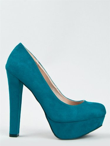Qupid Marc-01 Chunky High Heel Platform Pump, Teal Suede Pu, 7