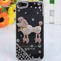 Special Sale i-Jew Series Shining Rhinestones Case for iPhone 5 Case (Pink Poodle Body Jewelry on Case) *** Transparent Case ***