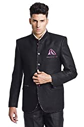 Wintage Men's Linen Blend Bandhgala Wedding Nehru Mandarin Blazer- Black
