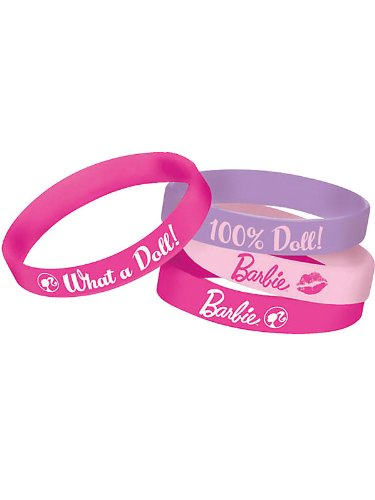 Amscan Barbie Rubber Wristbands (4 Piece), Light Pink/Dark Pink/Light Purple