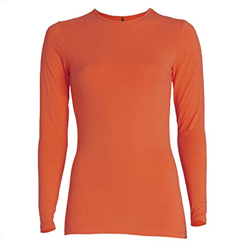 Esteez Long Sleeve Base Layering T-shirt for Women RELAXED FIT PUMPKIN XX-Large (Womens Thermal Shirts Long Sleeve compare prices)