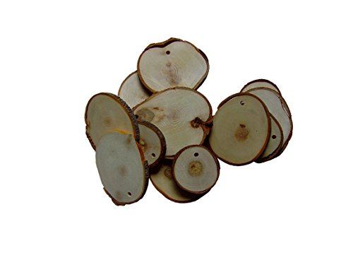 LeafTechUSA Beautiful Unfinished Predrilled Natural Wood Slices / Circles for DIY Craft Projects, 25pcs 1.5