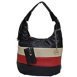 Frenchxd Courtney Jack Fancy Stylish Handbag for Women (Black, Cream, Red)