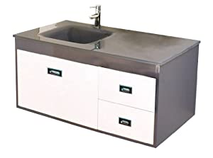 Luxo Marbre California 2819 G California Vanity With Tempered Glass Sink Grey And White