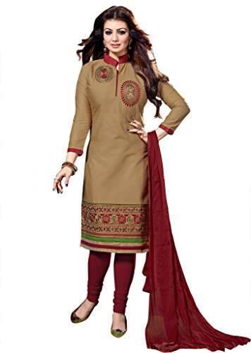 Ethnic For You Beige And Maroon Cotton Top Embroidered Work With Border Unstiched Dress Material