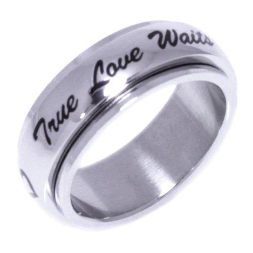 TRUE LOVE WAITS RING - (SPINNER RING) Inspirational Jewelry- High quality etched stainless steel ring. Hypo-allergenic. Inspirational Relationship Jewelry Wedding Band / Wedding Ring / Promise Ring / Purity Ring. SIZE 7