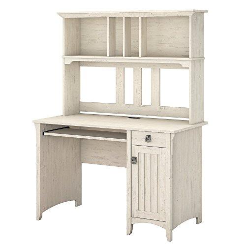 Bush Furniture Salinas Computer Desk with Hutch in Antique White