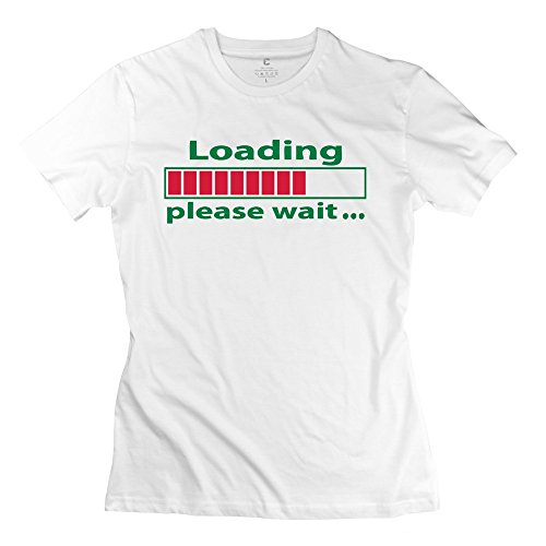 Girls Loading Please Wait T-Shirt - Cool Design White T Shirt
