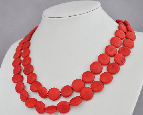 Red Turquoise Necklace,Statement Necklace - 41.7 Inches Red Turquoise Necklace(Fn0413) (A)