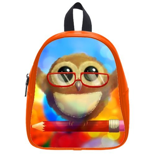 Generic Custom Cute Wearing Red Glasses Stand On The Pencil Printed Red School Bag Backpack Fit Short Trip Pu Leather Small front-1063962