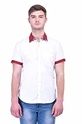 Trendster White Solids Half Sleeve Casual Men's Shirt