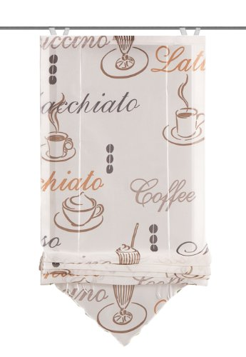 "Home fashion 57232-802 Bändchenrollo ""Cafe"" mit Haken, Voile, 140 x 45 cm, creme"