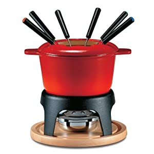 Swissmar Sierra 11-Piece Meat Fondue Set, Red Enameled Pot