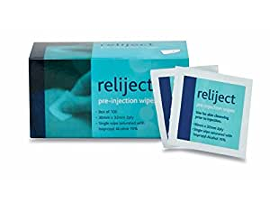 Reliject Alcohol Cleansing Wipes x 100