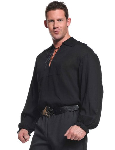 Pirate Shirt Adult Costume Black Xl Adult Mens Costume