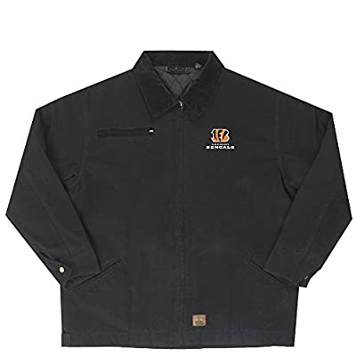 NFL Cincinnati Bengals Tradesman Canvas Quilt Lined Jacket, Black, X-Large