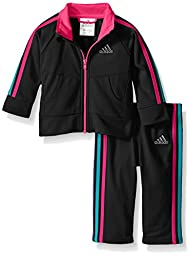 Adidas Baby Girls\' Iconic Tricot Jacket and Pant Set, Black/Pink, 24 Months