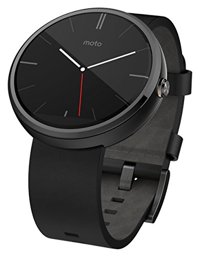 Motorola – Moto 360 Smart Watch for Android Devices 4.3 or Higher – Black Leather