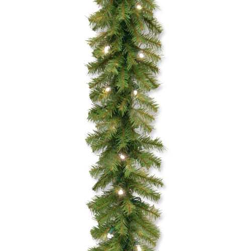 National Tree Norwood Fir Garland with 50 Battery Operated Soft White LED Lights in Re-Shippable Brown Box, 9-Feet by 10-Inch