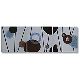 Neron Art - Handpainted Abstract Oil Painting on Gallery Wrapped Canvas Group of 3 pieces - Reutlingen 24X8 inches
