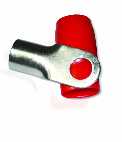 XS Power RT0S-RD 8.5mm Screw Hole Nickel Finish 0 AWG Crimp Terminal with Red Boot