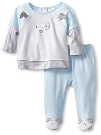 ABSORBA Baby-Boys Newborn Puppy Two Piece Footed Pant Set, Blue, 0-3 Months