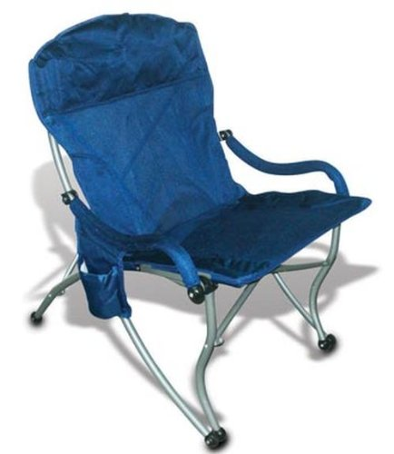 Folding Camp Chair With Sturdy Arms For Easy In/Out, 300Lbs, Mesh, Blue front-1080434