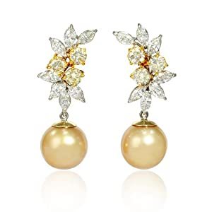 Diamond and South Sea Golden Pearl 18k Two Tone Gold Dangle Earrings