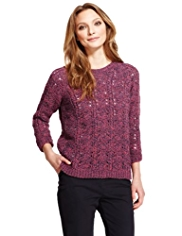 Indigo Collection Criss Cross & Open Knit Jumper with Wool