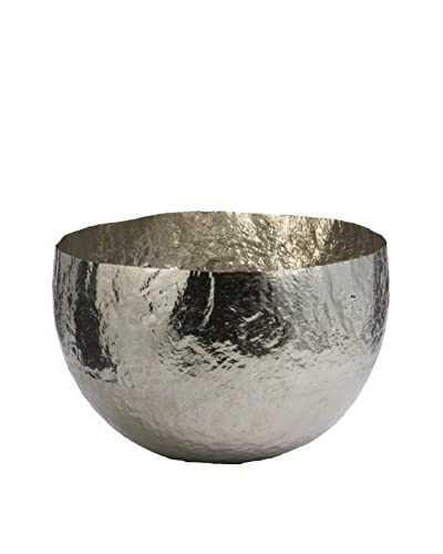 Large Hammered Nickel-Plated Brass Dish, Silver