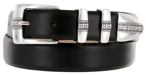 Brandon Italian Calfskin Leather Designer Dress Golf Belt for Men (36, Smooth Black)