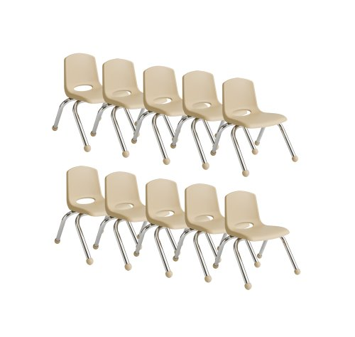 """Ecr4Kids School Stack Chair With Chrome Legs And Ball Glides, 10"""", Sand, 10-Pack front-842410"""