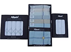 Mikado 100% Cotton Handkerchief Combo Of 10Pcs, 5Pcs & 3Pcs Box For Men (18 Pcs)
