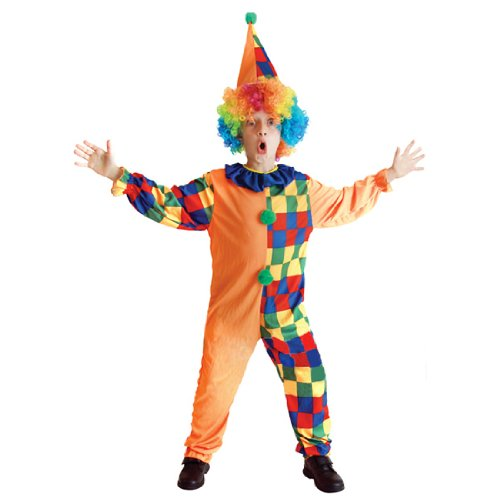 Children Kids Halloween Party Clown Costume JumpSuit With Rainbow Wig And Cap