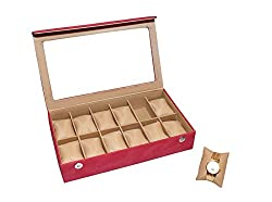 Essart PU Leather Watch Organiser Box for 12watches-A-Red