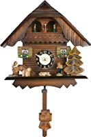 River City Clocks Quartz Cuckoo Clock - Painted Chalet with Dancers - Wesminster Chime or Cuckoo Sound - 7 Inches Tall - Model # 83-07QPT from River City Clocks