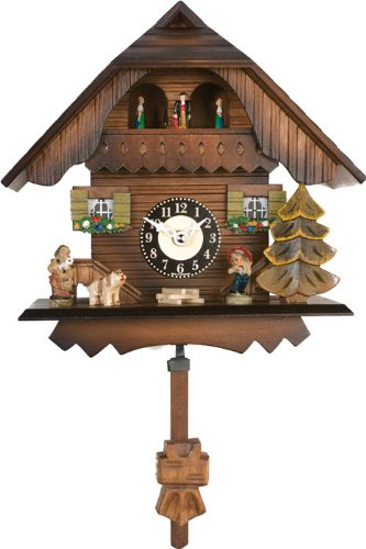 River City Clocks Quartz Cuckoo Clock – Painted Chalet with Dancers – Wesminster Chime or Cuckoo Sound – 7 Inches Tall – Model # 83-07QPT