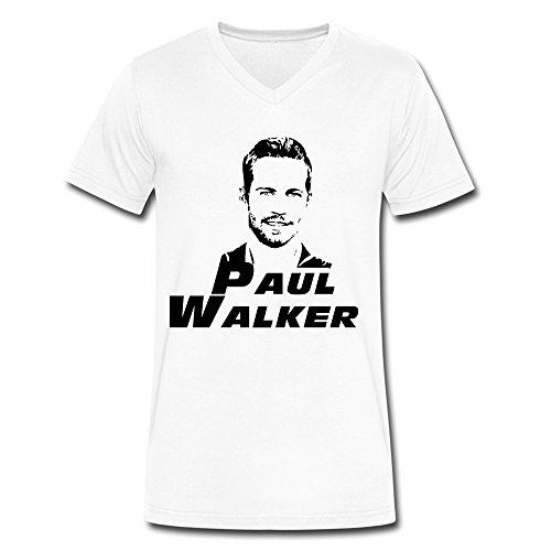 ZhaoHui Novelty Men Paul Walker V-neck Tee Shirts XXL White