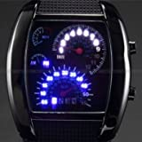 Mens-Blau-LED-Tachometer-Aviation-Pilot-Binary-Digital-Armbanduhr