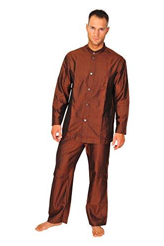 brioni-pajama-men-dark-brown-silk-plain