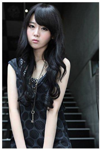 Taobaopit Black Full Wavy Women's Wig Long Curly Lady's Wigs
