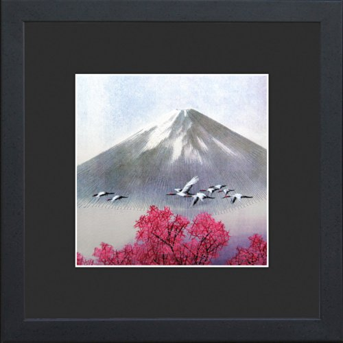 King Silk Art 100% Handmade Embroidery Japanese Cranes Cherry Blossoms Over Mount Fuji Chinese Print Framed Landscape Painting Gift Oriental Asian Wall Art Décor Artwork Hanging Picture Gallery 37048BFG (Crane Pictures compare prices)