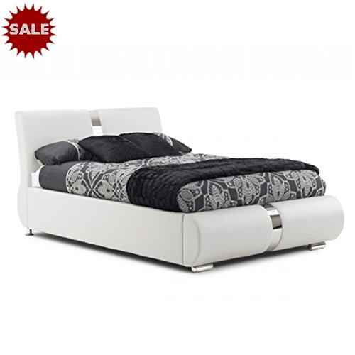 Canali Faux Leather Italian Style Bed (White, 4ft6 Double)