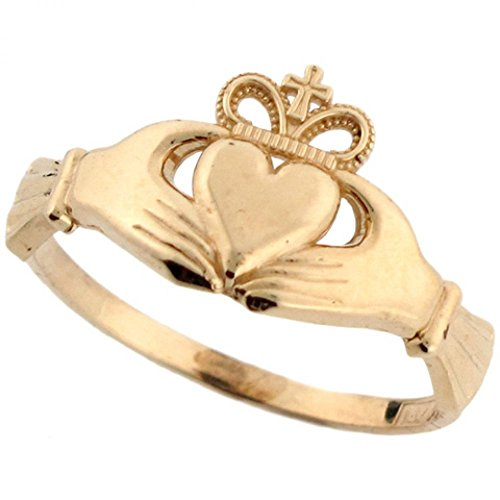 14k Real Gold Irish Claddagh Friendship and Love Crown with Cross Ring (Gold Claddagh Rings For Women compare prices)