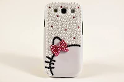FancyG Luxury 3D Diamond Crystals Pearls Pink Bow Tie Knot White Back Cover Case Fits for Samsung Galaxy S3 9300 Beautiful and Cute Best Gift