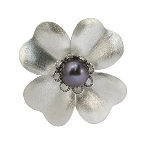 Bella Donna Damen Brosche 333/000 Weiß-Gold 1 Perle grau 900424