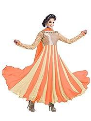 Fstore Orange embroidered georgette semistitched salwar suit