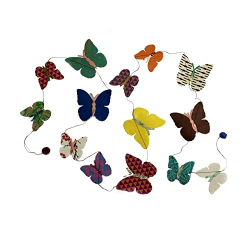 Fair Trade Eco Friendly Paper Butterfly Garland, Handcrafted in Nepal (Dot Crepe Paper compare prices)