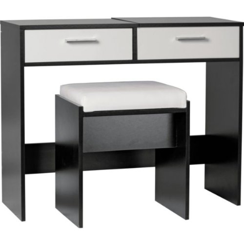Sywell Dressing Table, Stool and Mirror - White and Black with Mini Stylish Portable Colour-Changing Alarm Clock