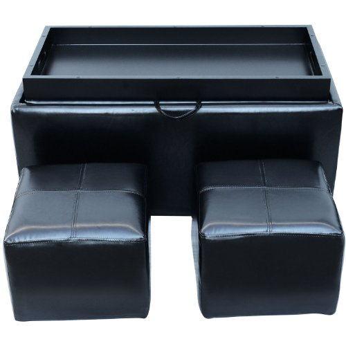 HomCom PU Leather Storage Bench Ottoman w/ 2 Footstools - Black